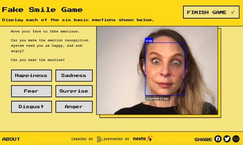 A game on the Emojify website demonstrating AI emotion recognition technology.